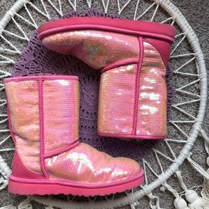 Pink Sequin Sparkly Uggs Size 7